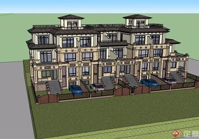 某详细的整体联排别墅设计su模型