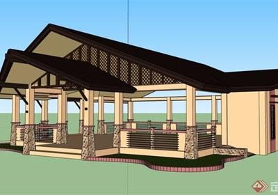 中式风格详细的经典完整亭子素材设计su模型
