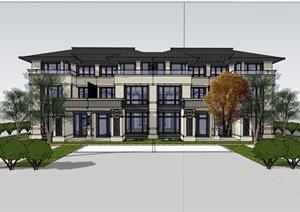 中式风格详细的经典完整住宅小区别墅设计SU(草图大师)模型