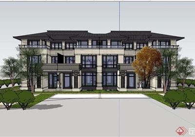 中式风格详细的经典完整住宅小区别墅设计su模型