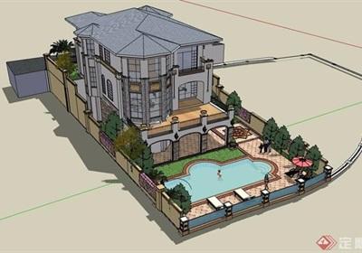 欧式风格详细的经典完整私人别墅su模型