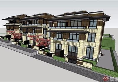 新古典风格详细的住宅小区完整别墅设计su模型