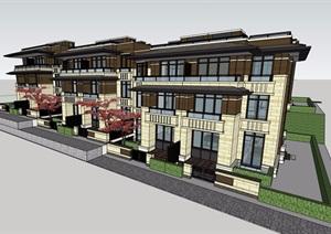 新古典风格详细的住宅小区完整别墅设计SU(草图大师)模型