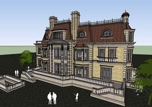 详细的欧式风格居住别墅SU(草图大师)模型