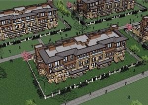 独特详细的精致住宅别墅设计SU(草图大师)模型