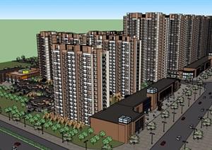 一个现代风格住宅区详细建筑楼SU(草图大师)模型