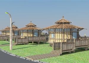 竹屋帐篷营地SU(草图大师)模型