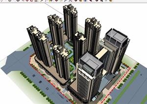某新古典风格商业办公及商业住宅楼设计SU(草图大师)模型