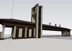 中式风格详细的完整围墙大门素材设计SU(草图大师)模型