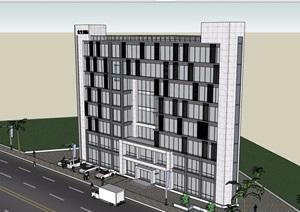 8层详细的办公建筑楼设计SU(草图大师)模型