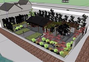 中式風格詳細的庭院素材設計SU(草圖大師)模型