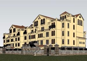 欧式风格详细的多层住宅小区居住楼设计SU(草图大师)模型