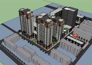 某现代风格详细的商业办公及商业住宅建筑SU(草图大师)模型