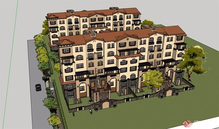 西班牙多层详细的小区别墅模型v多层su别墅美的花溪风格图片