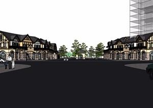 欧式风格详细的多层商业街边建筑楼设计SU(草图大师)模型