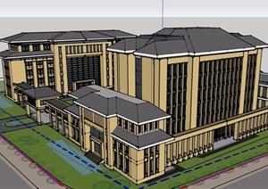 中式风格详细的政府办公楼建筑SU(草图大师)模型