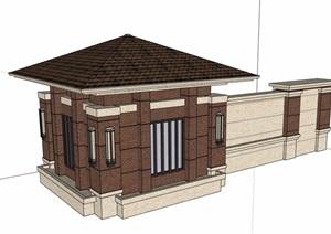某現代的門衛室崗亭素材設計SU(草圖大師)模型