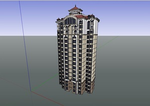 小高层居住小区建筑楼设计SU(草图大师)模型