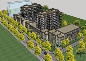 某现代风格详细的多层商业居住楼设计SU(草图大师)模型