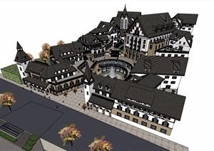 欧式风格详细的小镇商业多层建筑SU(草图大师)模型