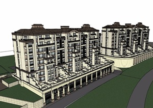 欧式风格详细的多层商业住宅楼SU(草图大师)模型