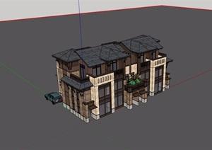 双拼欧式风格详细的完整在别墅设计SU(草图大师)模型