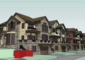 某小区完整详细的住宅别墅SU(草图大师)模型