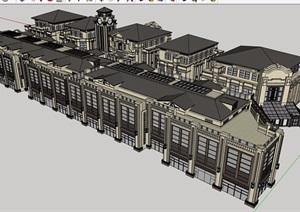 欧式风格详细的完整商业多层详细建筑设计SU(草图大师)模型