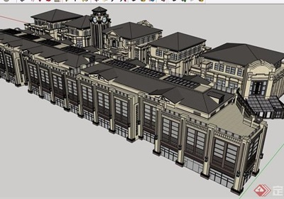 欧式风格详细的完整商业多层详细建筑设计su模型