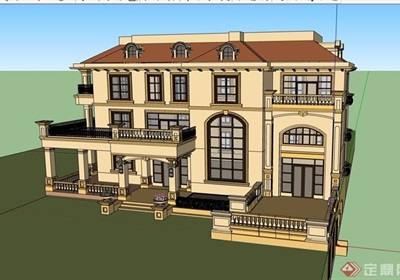 欧式风格详细的三层住宅别墅设计su模型