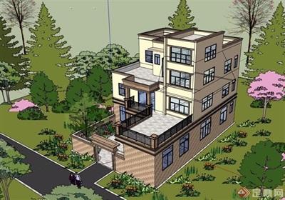 现代风格详细的农村自建别墅设计su模型