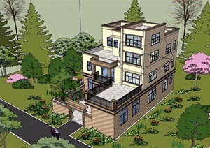现代风格详细的农村自建别墅设计SU(草图大师)模型