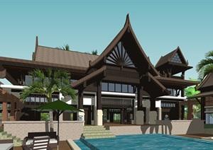 东南亚傣式风格滨水休闲度假会所酒店SU(草图大师)模型