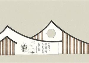 新中式景墻景觀SU(草圖大師)模型