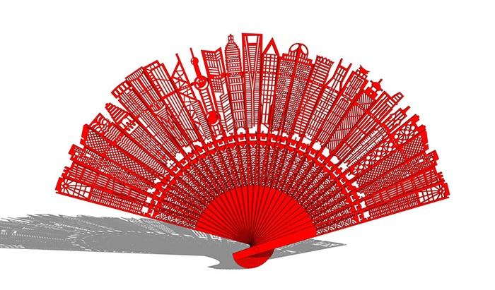城市折扇雕塑SU模型(1)