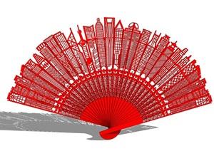 城市折扇景观雕塑SU(草图大师)模型