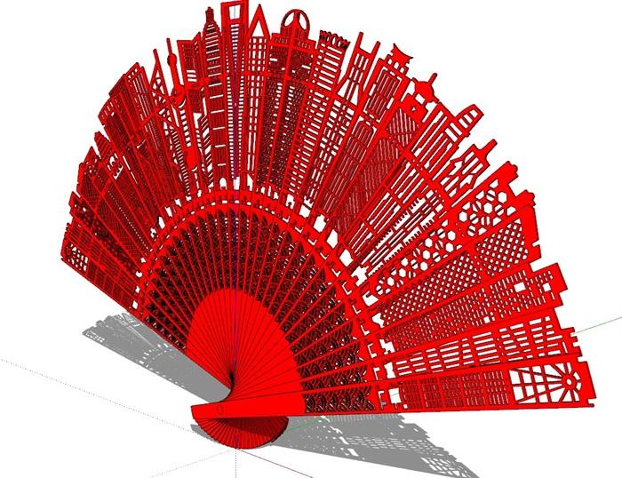 城市折扇雕塑SU模型(2)