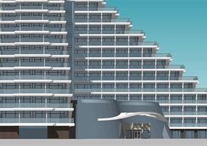 現代退臺式度假酒店 公寓SU(草圖大師)模型