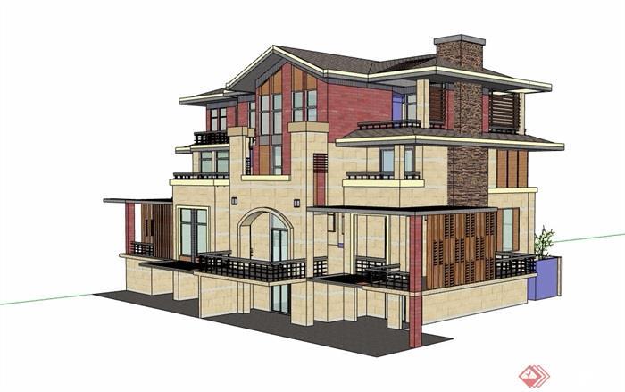 三层详细的英式风格完整别墅设计su模型