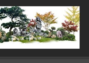 太湖石植物花卉组景景观后期制作素材psd