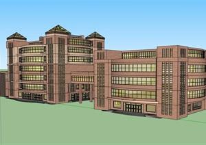 现代风格详细的多层酒店完整设计SU(草图大师)模型