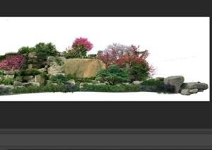 置石景观组景后期制作素材psd