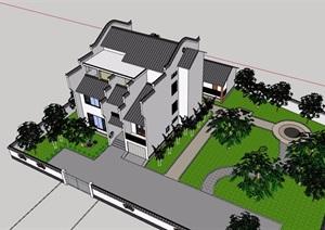 中式風格詳細的完整多層別墅設計SU(草圖大師)模型