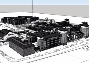 中式風格詳細的學校教育建筑樓設計SU(草圖大師)模型