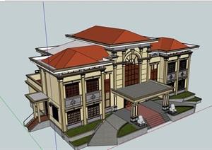 欧式风格小酒店多层设计SU(草图大师)模型