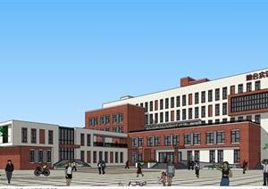 現代風格詳細的完整多層教育建筑樓設計SU(草圖大師)模型