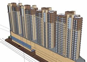 現代風格詳細的完整商業住宅樓設計SU(草圖大師)模型