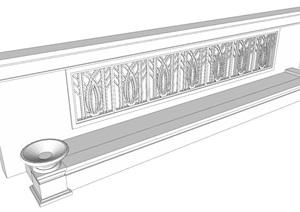 非常完整的 小区景墙 施工图  现场照片   SU(草图大师)模型 CAD详图