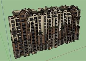 歐式風格詳細的小高層居住建筑樓設計SU(草圖大師)模型