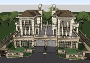 雙拼歐式風格詳細的住宅別墅SU(草圖大師)模型